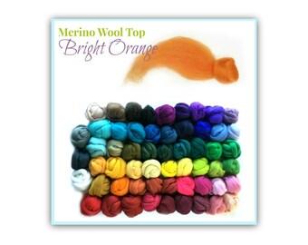 Merino Wool Roving, 1 oz Bright Orange Felting Wool Spinning Roving, Weaving Top Wool, Wet Felting for Beginners, Needle Felting w/ Children