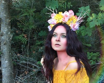 Pink and Gold Fawn headpiece, deer antler headpiece, flower crown