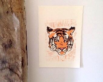 Lino print, tiger