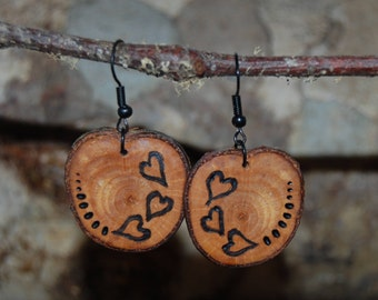Artisan Wood Burned Heart Earrings, Handcrafted Rustic Wood Jewelry, Country Wedding, Boho Gifts for Her, Lightweight Cherry Wood Earrings