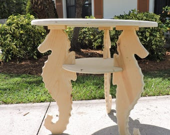 Seahorse End Table, Side Table, Wooden Table, Hand Made Table, Distressed,