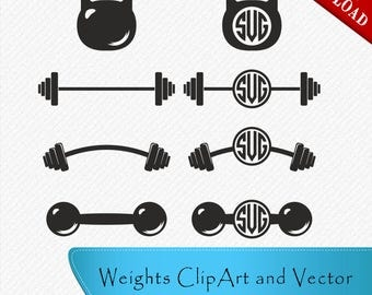 Barbell Silhouette, CrossFit Weights, BarBell svg, KettleBell Monogram, Weight lifting, Clipart, Cut, Vector digital, svg, dxf, eps, png