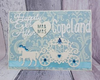 Cinderella wedding card, Happily ever after fairytale wedding keepsake, Colour choice, Princess horse and carriage, Personalised, Mr & Mrs