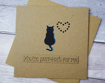 Valentine's Day cat card, Anniversary cat pun card, Handmade gem heart card, You're purr-fect for me card, Personalised card, Kraft card