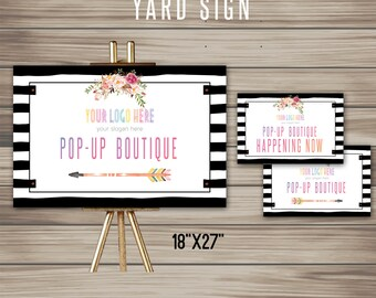 """Boho Yard Sign, Instant Download, 8.5"""" x 11"""", 18"""" x 24"""" , Poster, Digital, Marketing, For Fashion Retailer, home office approved K15L08"""