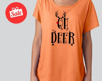 Christmas Oh Deer Slouchy Dolman Shirt. Off the Shoulder Shirt. Christmas Shirt. Funny Reindeer Christmas. [H0166]