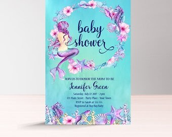 Printable Mermaid Baby Shower Invitation, Under the Sea Baby Shower Invitation, Instant Download, Beach Nautical Baby Shower Invite for Girl