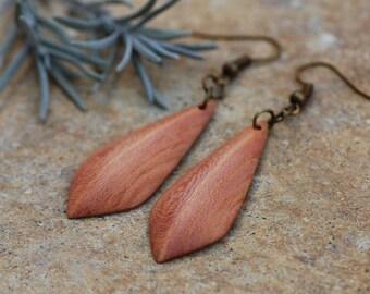 Wooden earrings in plum wood//carved//earrings wood//wooden earrings//gift women//wood jewelry natural//