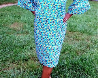 Blue Ankara dress with Puffed Sleeves