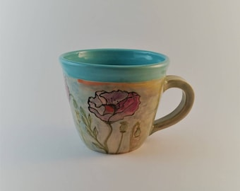 Ceramic cup wheel thrown and hand painted in a watercolor style, coffee, espresso, tea, wine