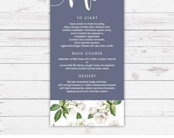 Wedding menu - Blue botanicals design and printed on textured card