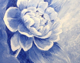 The Ultramarine Spring - Oil Painting, Hand Painted Flower 50 x 70 cm