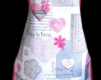 LOVE HEARTS Apron / Pinny PVC/Oilcloth - Lightweight - Wipeclean - Craft - Cooking - Baking, etc