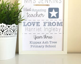 An Amazing Teacher. Art. Print. Poster. Gift. Typography. Calligraphy. Quote. Prints. Keepsake. Frame.