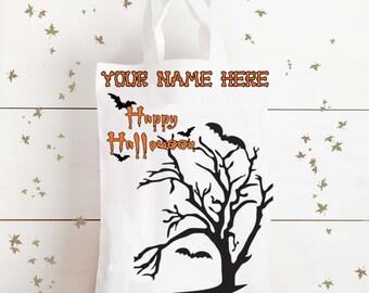 Trick or treat Halloween bag - personalised Halloween bag, Candy bag, sweet bag, childrens treat bag, sweetie, bats, creepy, Loot, Goody bag