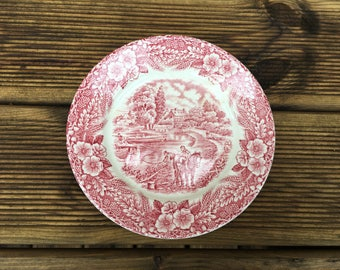 Vintage plate - The Constable series Bicentennial (1776 - 1976) - Staffordshire England - 1970s countryside and floral pattern