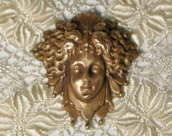 French Mystic Goddess Brass Stamping Antique Style Jester's Costume Made in France 537J