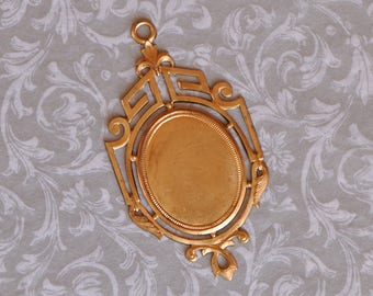 French Brass Art Deco Style Closed Back Portrait Setting 1930's - 40's Vintage Style 455J