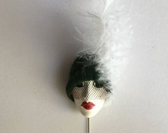 Vintage French Flapper girl Brooch Hat Pin made in the 1960s
