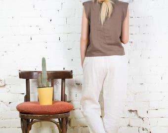 Linen pants, cropped pants, linen trousers, linen trousers, jappanese style, white linen pants, loose fitting pants/LP0006