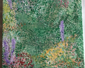 Impressionist Garden Original Acrylic Painting on Canvas 16x20