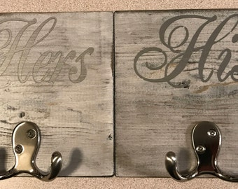 His and Hers Wood Towel Hook, Robe Hook, Towel Holder, Rustic Towel Holder, Distressed Towel Hook, Shabby Chic, Cottage Chic, Wood Hook