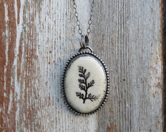 "Sterling Silver and Ceramic Fern Pendant // 18"" Chain // Black and White"