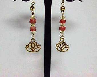 """Earrings """"Lotus"""". Boho-Look Earrings in coral and gold color accents. Spirituality & Symbols"""