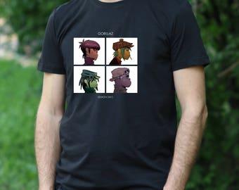 Gorillaz Tshirt Gorillaz Tee Gift Rock T shirt Gorillaz rock Tshirt HUMANZ shirt men's T-shirt Gorillaz shirt