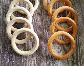 Wooden Teething Ring unfinished or finished with organic coconut oil