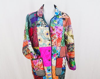 Vintage Colorful Quilted Button-Up Jacket