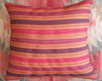 Burgundy multicolor pillow, rust.  Made in Italy