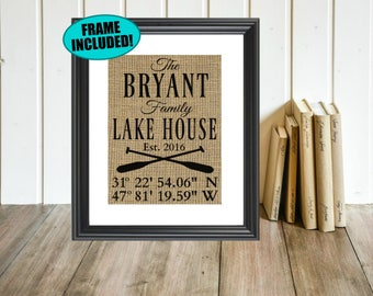 Framed Burlap Print - Personalized Lake House Sign With Coordinates - Lake House Decor - Lake House Wall Decor - Lake House Gifts - Wall Art