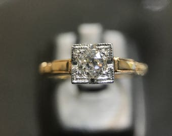 Vintage 0.30ct Old Cut Diamond and 14k Solitaire Engagement Ring sz 6.75