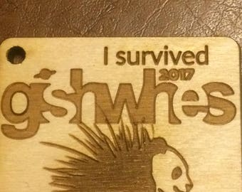 I survived GISHWHES 2017 birch keychain