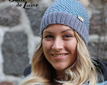 Women hat ARTIC, winter women hat, grey and aqua, made with Tunisian crochet hook, adult size