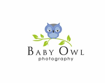 Owl Logo, Branch Logo, Owls Logo, Kids logo, Logo kids, Photography logo, Bird logo, Boutique logo, Children's logo, Cute logo, Baby shop