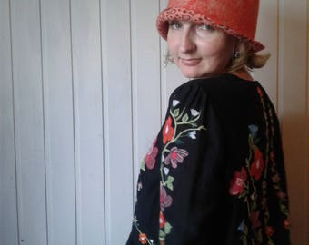 Felted women original unique hat made of wool and silk warm light stylish and ecological orange color