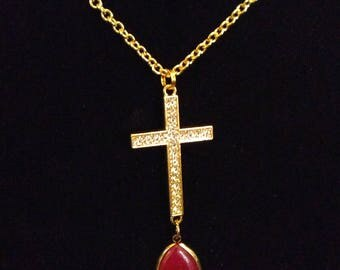 Gold Rhinestone Cross Necklace with Pink Dangle