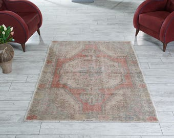 Muted Turkish Rug Oushak Rug Decorative Handwoven Rug Turkish Antique Rug 4.3x6.8 ft F-220