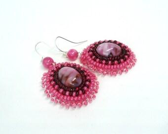 Pendant Earrings, Pink Earrings, Beads Earring, Earrings With Cabochon, Gift For Her.