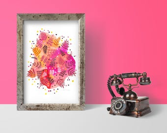Tropical Explosion Pink//Signed ORIGINAL Gouache & Liquid Watercolor Painting/Illustration
