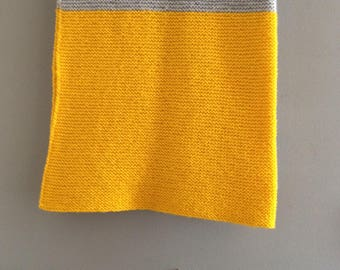 Sun yellow and grey knitted baby blanket
