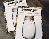 Savings Jar Insert, Savings Jar, Mason Jar Insert, Mason Jar Savings