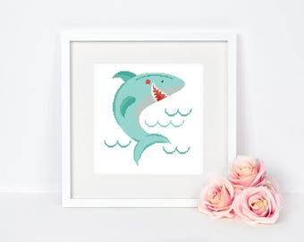 Shark Cross stitch pattern Modern Nautical Easy Beginner Animal Nursery Sea Baby room Wall decor Happy Smiling Fish Instant download PDF