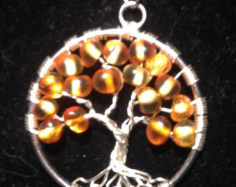 Natural Amber Tree of Life Pendant Necklace with Artistic Wire Silver  Plated. Tarnish Resistant Silver.Silver  chain. Amber of the Baltic
