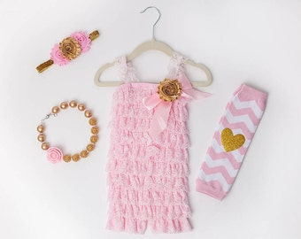 Pink & Gold Lace Romper 1st Birthday Girl Outfit Baby Headband Flower Girl Cake Smash Photo Prop Leg Warmers
