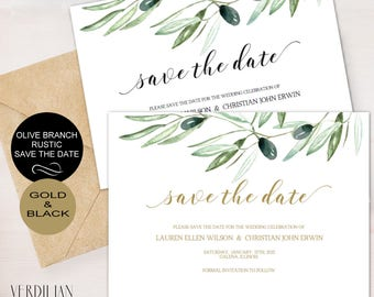 Save The Date Template Wedding Rustic Olive Branch - Printable Save the Date - PDF template -DOWNLOAD instantly| VRD135DS