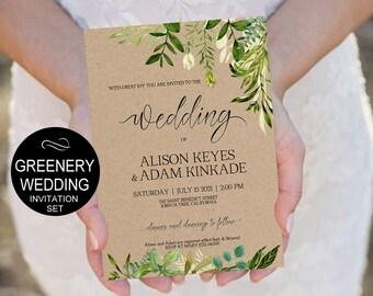 Rustic Wedding Invitation Template Greenery Watercolor Wedding  Kraft Wedding  Invitation DIY Editable PDF