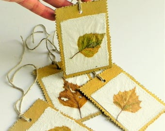 Autumn leaves tags - Thanksgiving gift decoration - fall gift decor labels- autumn party favor tags - birch leaves tags - set of 4 tags